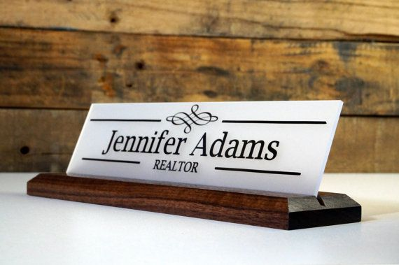 Desk Sign And Acrylic Name Plate Personalized Wood Professional Sign 10 X 2 5 Desk Sign Name Plate Desk Name Plates