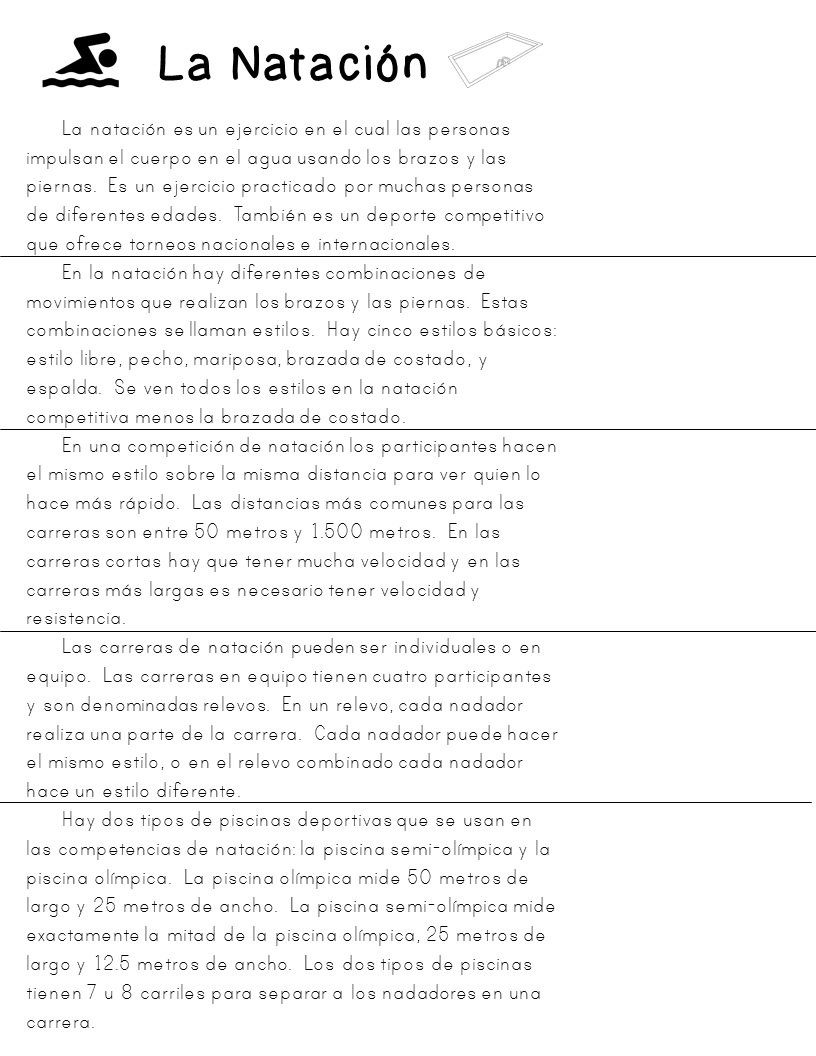 Three Short Non Fiction Spanish Texts For Close Reading Practice Deportes Reading Practice Close Reading Spanish Lesson Plans [ 1056 x 816 Pixel ]