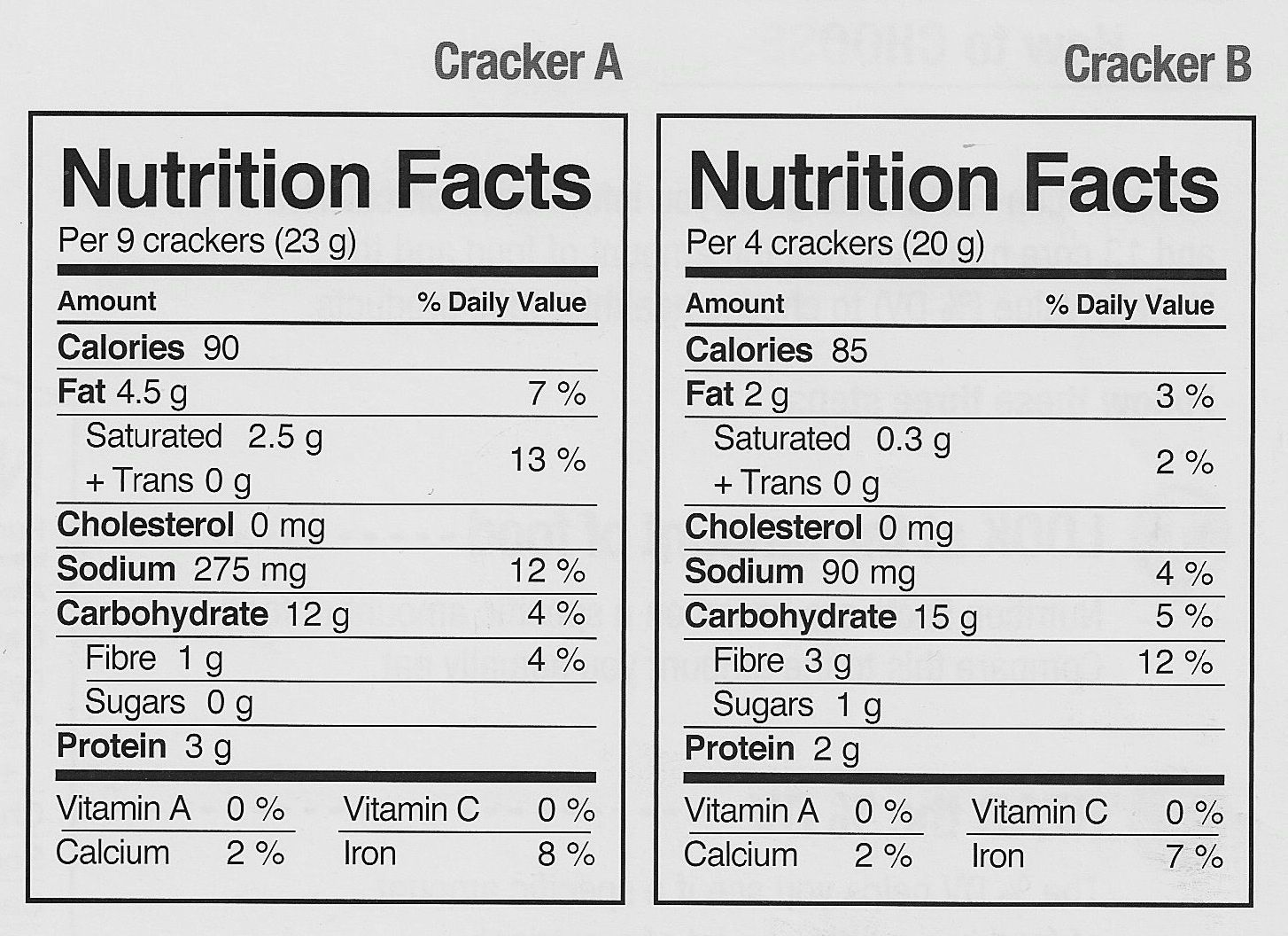 Reading Food Labels Food For Thought Within Comparing Food Labels22608