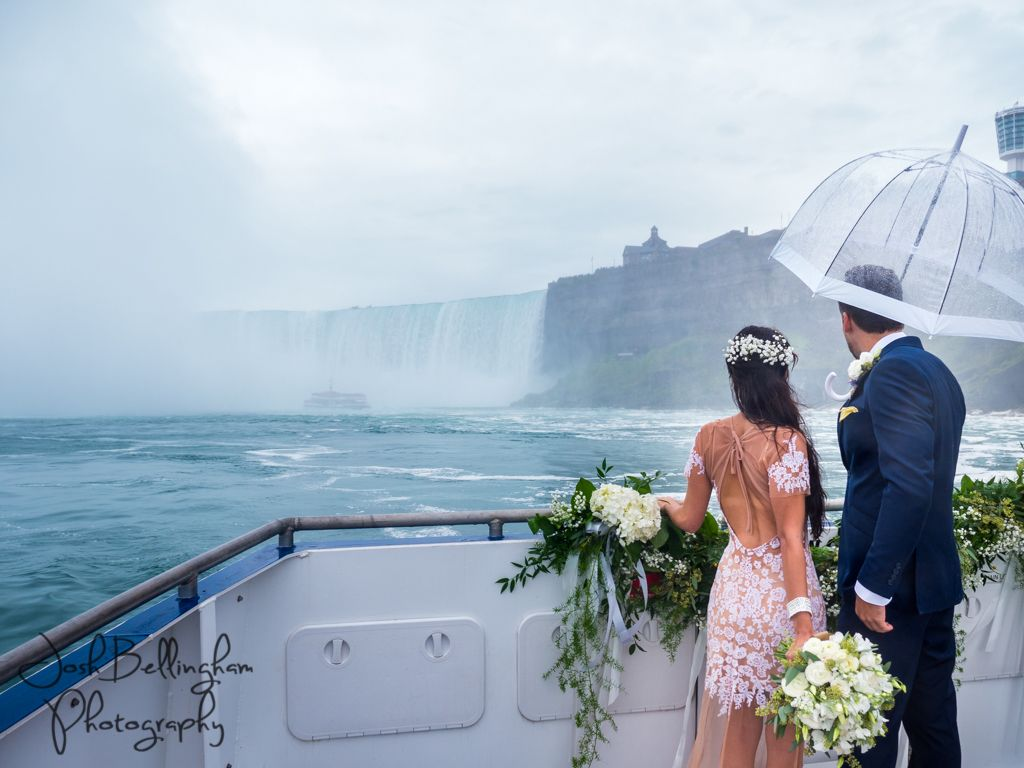 Epic Bride And Groom Adventuring Into Niagara Falls Aboard The Guardian Ceremonies Weddings With