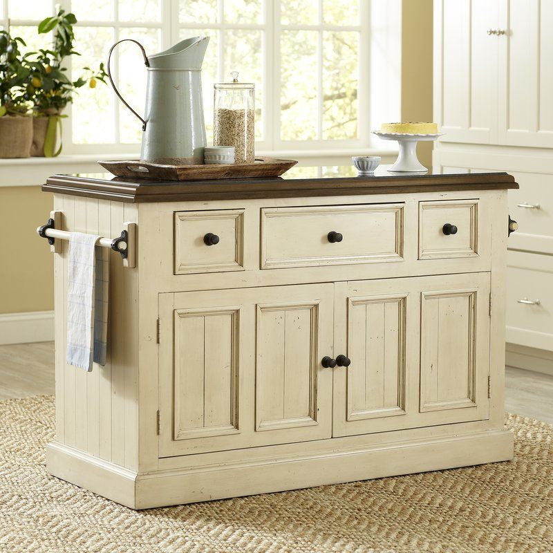 2-door solid wood kitchen island with a granite top and 3 pass ...