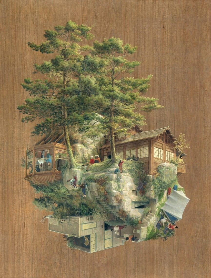 07 Roca Japonesa Cinta Vidal Agulló Multi Directional Surreal Architecture  Drawings And Paintings Www Designstack Co