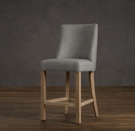 1940s French Upholstered Barrelback Counter Stool for the Island | Restoration Hardware