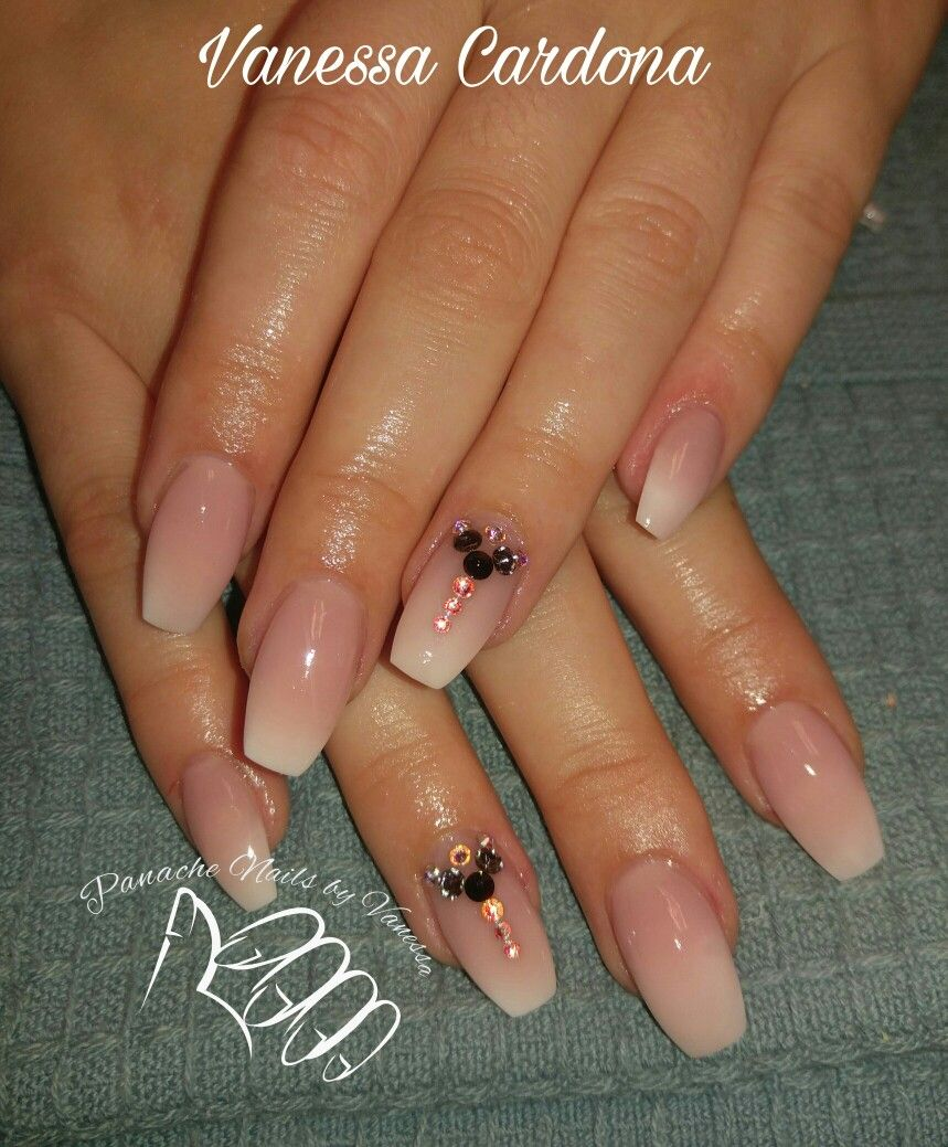 Faded pink and white ombre acrylic nails Coffin nails Swarovski ...