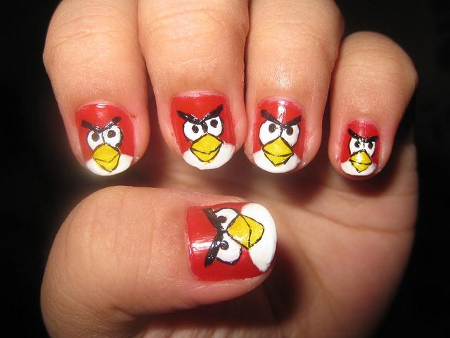 nail art design angry birds | Angry birds, Wide nails and Amazing nails