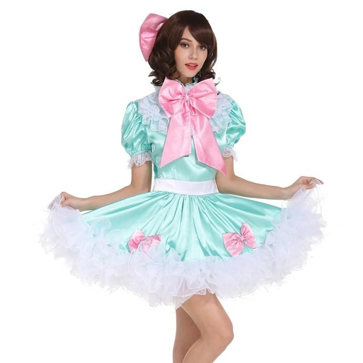 a8bff4d2ebed Sissy Girl Lockable Maid Satin Puffy Bow Dress in 2019   Sissy ...