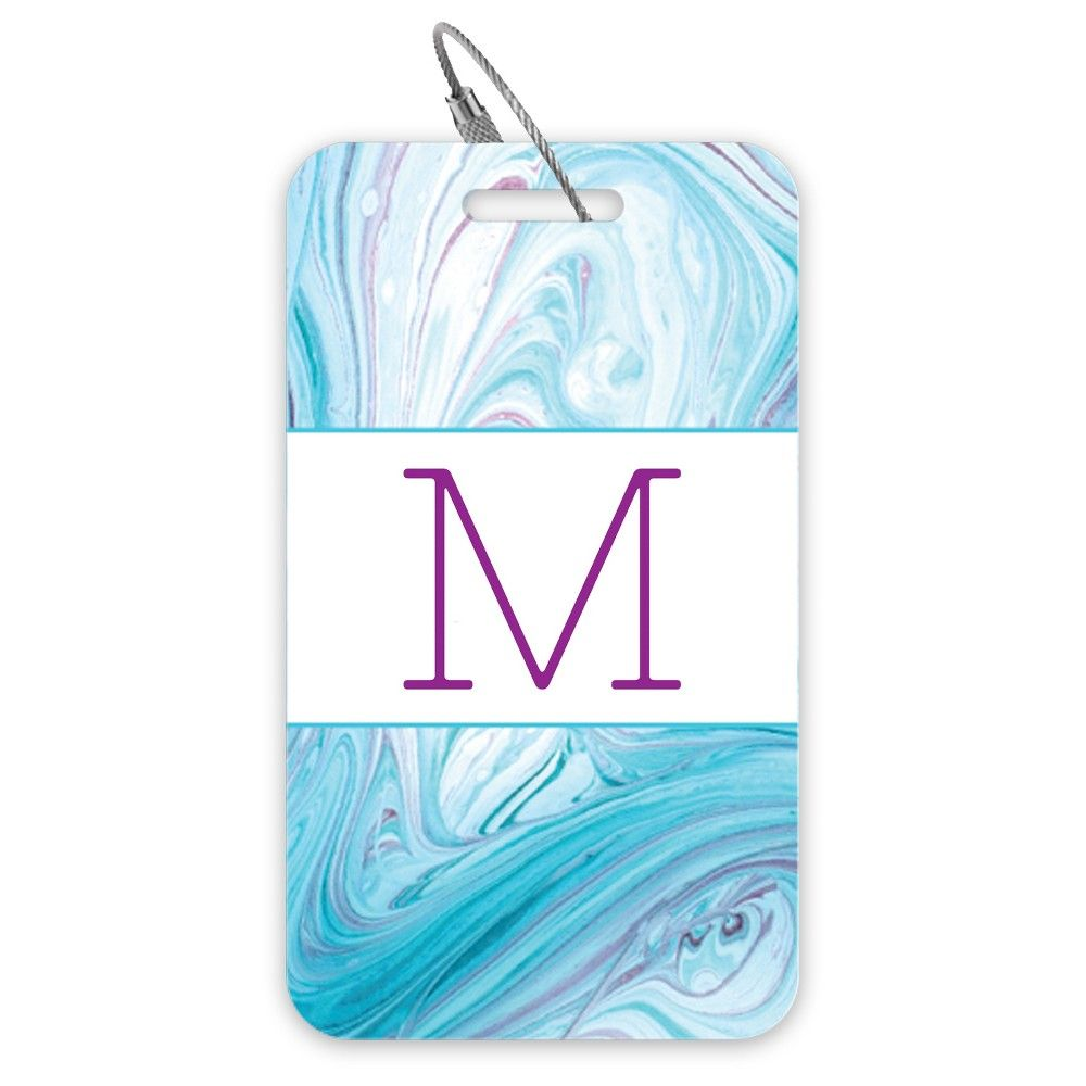 Set of 2 Luggage Tags: Blue Swirl-Nixie One - Monogram M, Blue Green Red