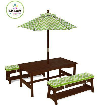 Kidkraft Outdoor Table And Chair Set With Cushions Green White