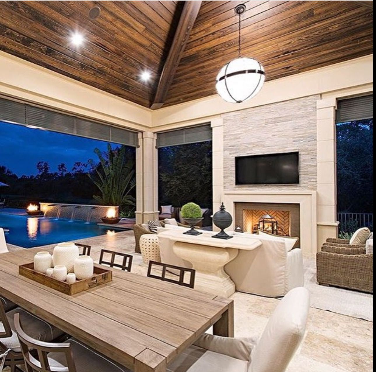 Seating Fireplace Wood Ceilings Color Palette Love It Outdoor Living Rooms Indoor Outdoor Fireplaces Outdoor Living Space #outdoor #living #room #with #fireplace