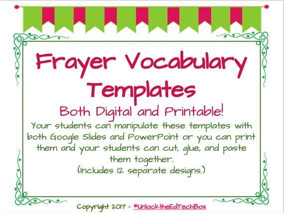 Digital 12 Interactive Digital Vocabulary Frayer Model Templates