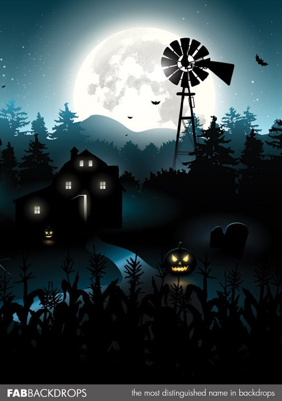 FabVinyl Spooky Farm Background Halloween and Witchy Things - halloween backdrop