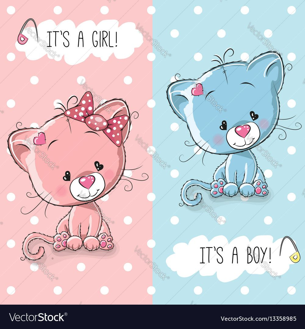 Baby shower greeting card with cute kittens boy and girl download baby shower greeting card with cute kittens boy and girl download a free preview or kristyandbryce Image collections
