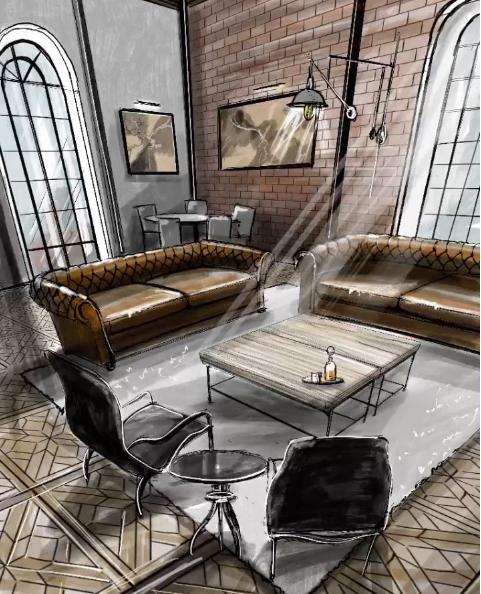 Sketch Sketching Texture Interior Design Interior Sketching Markers Watercolor House Interior Design Renderings Interior Sketch Interior Design Drawings