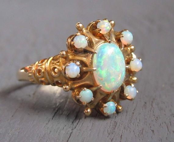 Victorian Opal Ring On 10k Yellow Gold With Ornate Setting Antique Opal Ring 10k Gold Opal Ring A With Images Antique Opal Ring Antique Opal Jewelry Opal Ring Gold