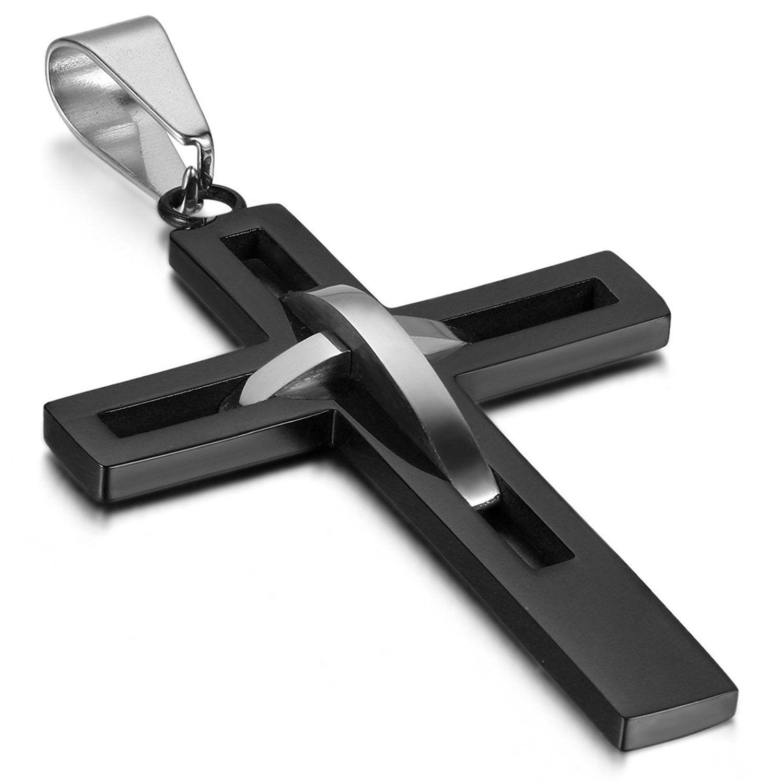 Cross Pendant for Women Men Stainless Steel Necklace