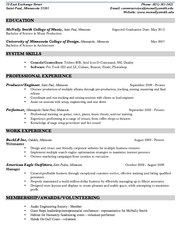 Music Production Resume Sample