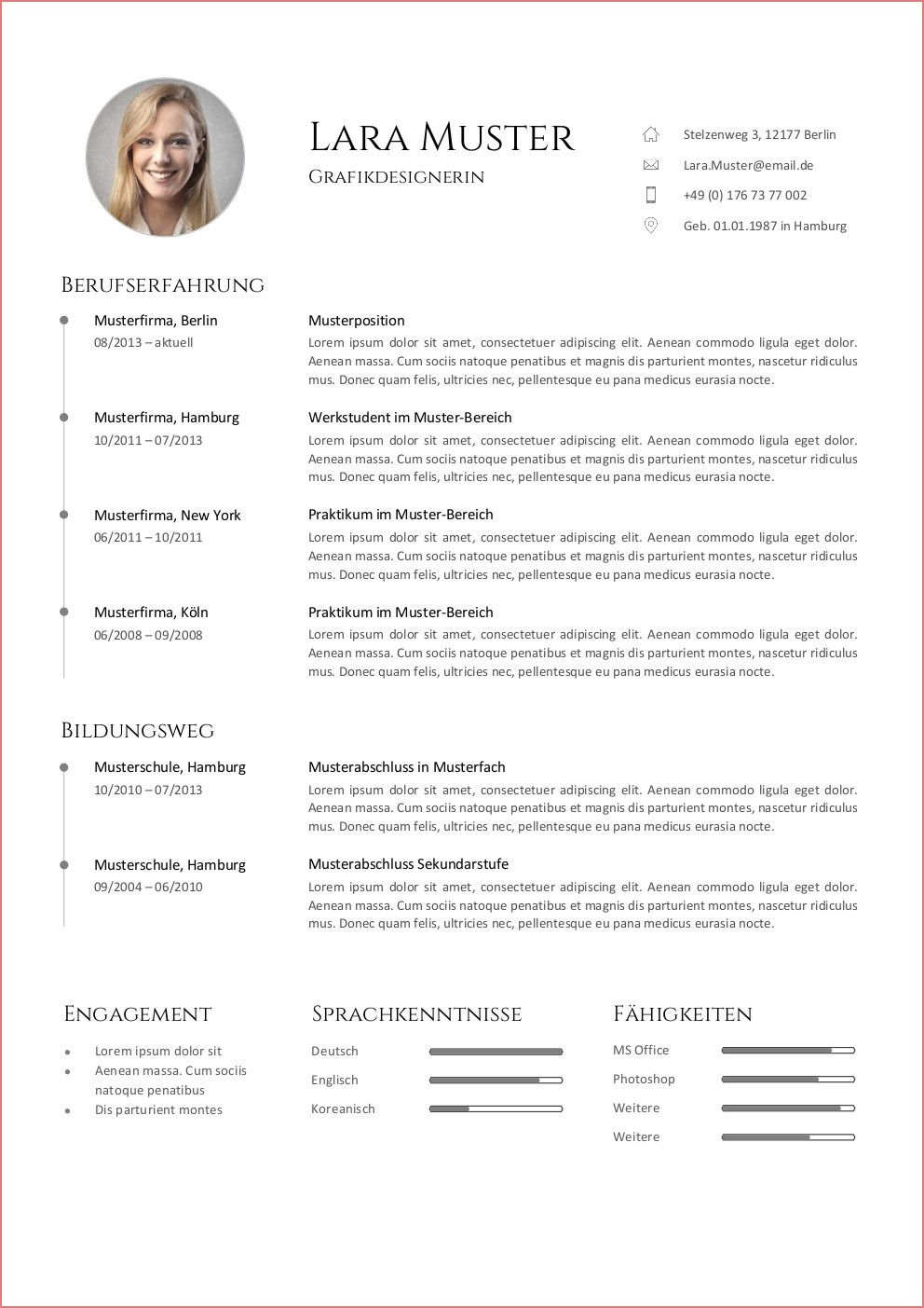 Bewerbungsvorlage 7 In 2020 Resume Templates Resume Examples