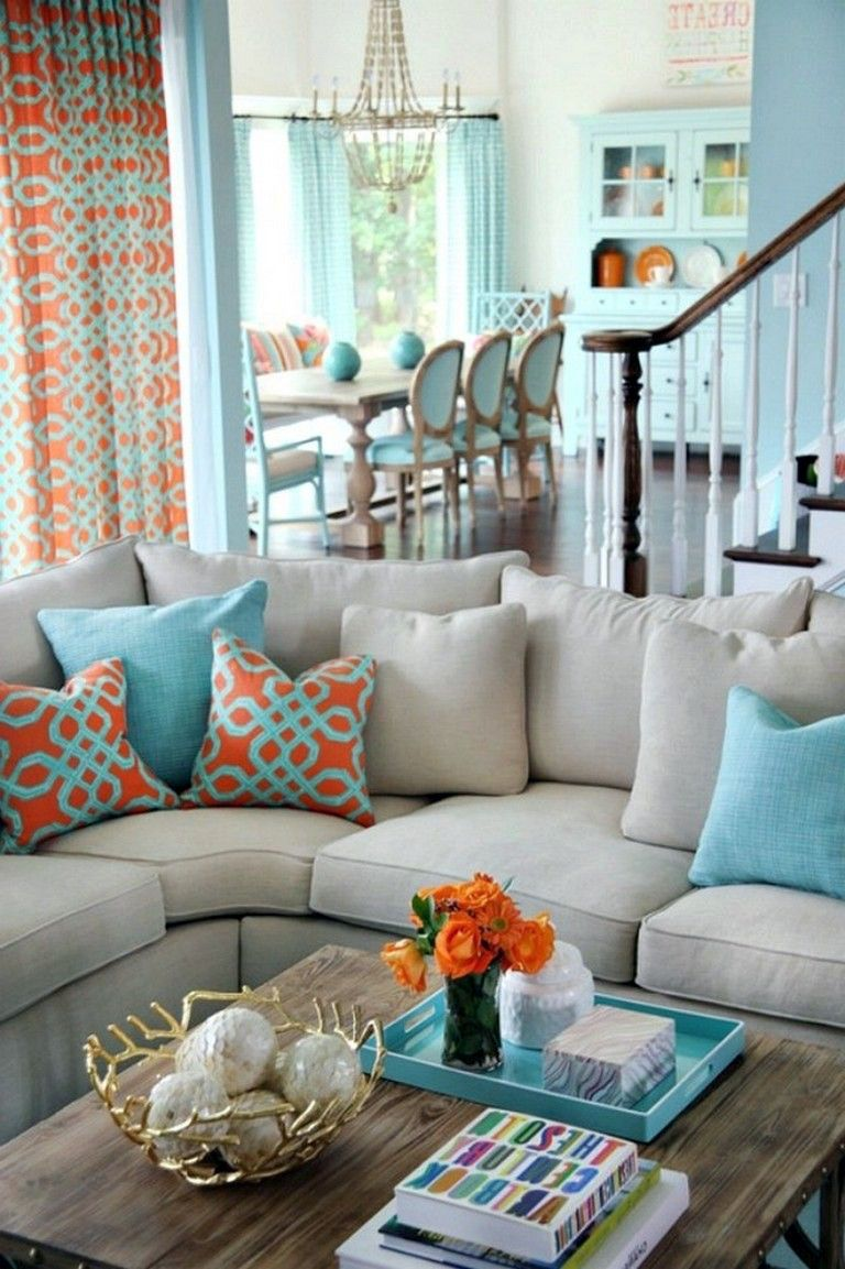 Different grey orange living room that look beautiful  Living