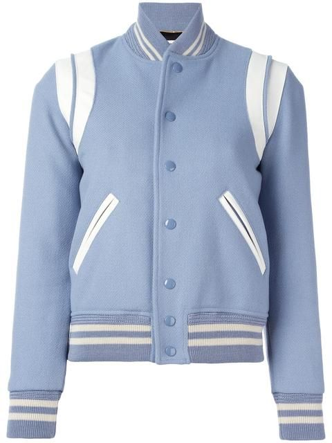 """GABRIELLE'S AMAZING FANTASY CLOSET   Saint Laurent Classic """"Teddy"""" Sports Bomber Jacket in Light Blue. I'm showing it with a Cream, Light Blue & Black Ruffled Silk Maxi-Skirt and a Black Bustier. You can see the Whole Outfit and my Remarks on this board. - Gabrielle"""
