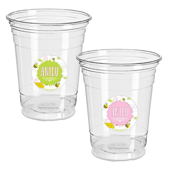 Bees flowers 12oz plastic cup with sticker clear 24 pack