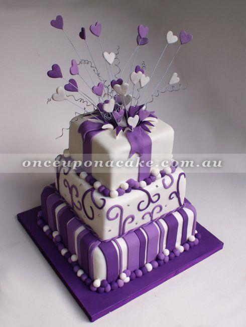 Purple Funky Wedding Cake Www Onceuponacake Com Au