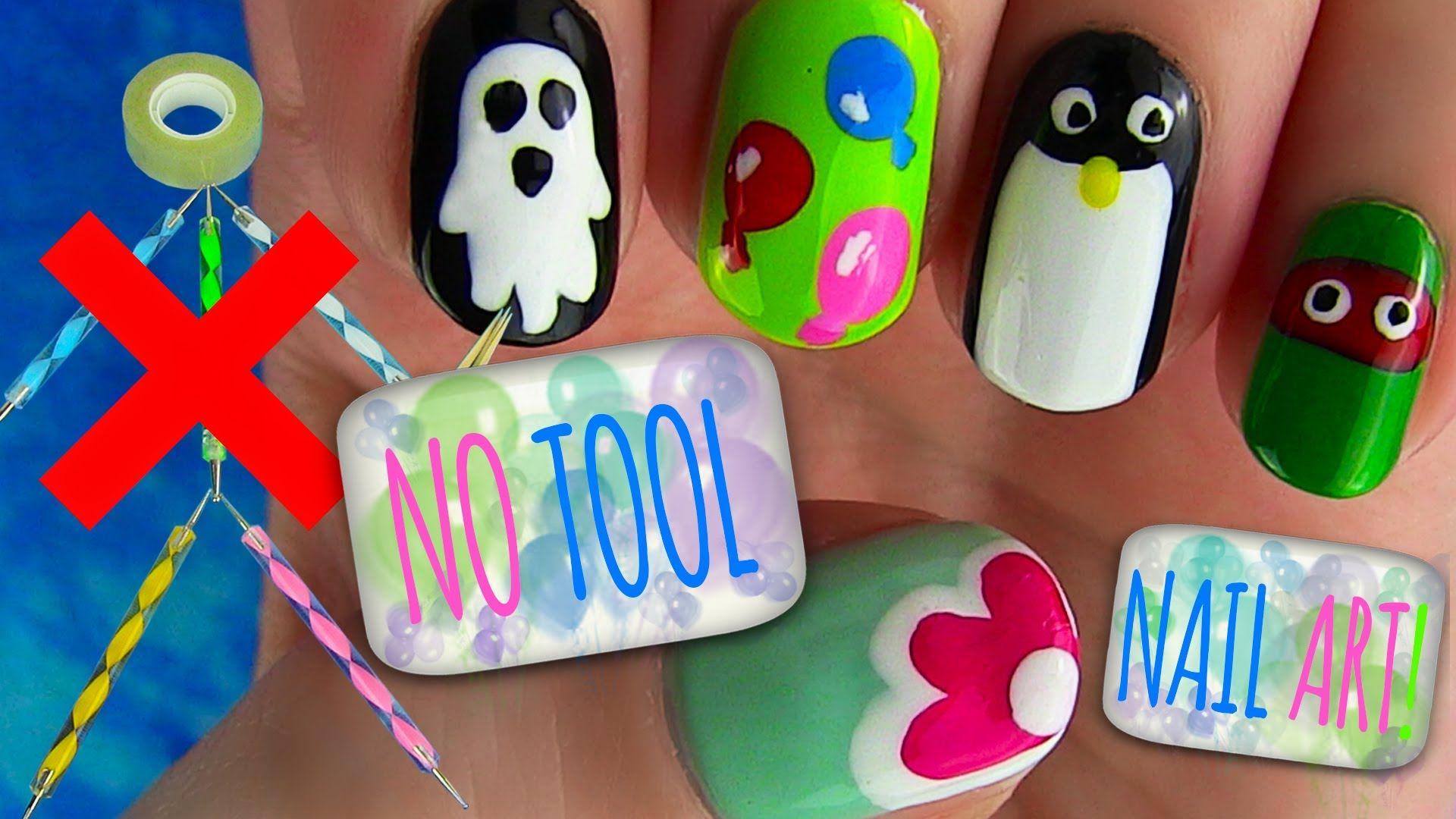 No Tools Nail Art Tutorial I Show 5 Easy But Cute Nail Art Designs Using Only A Nail Polish Brush Simple Nail Art Designs Nail Art Designs Diy Nail Art Diy