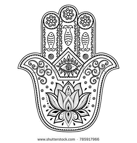 Vector Hamsa Hand Drawn Symbol Decorative Pattern In Oriental Style For The Interior Decoration And Drawings With Henna Ancient Of