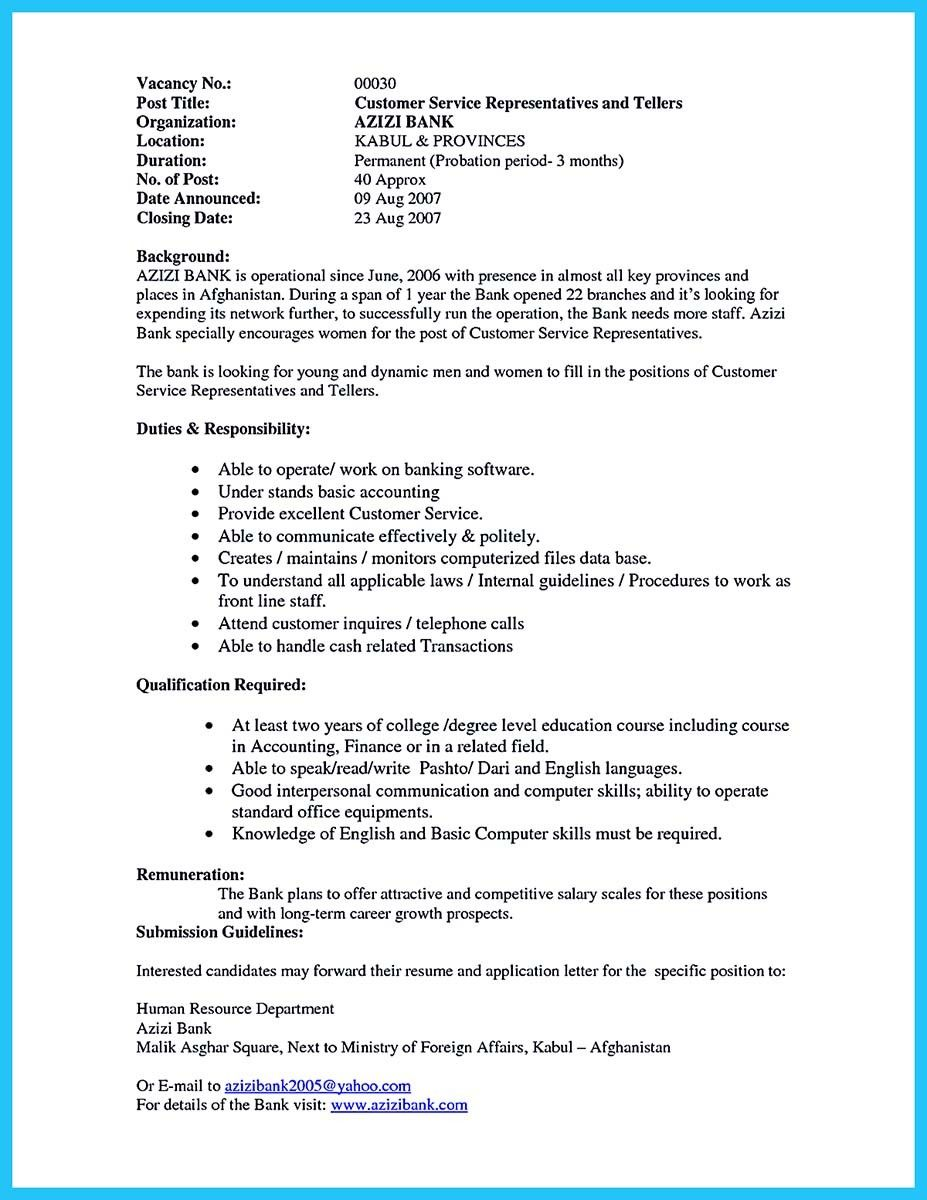 Gallery Resume Job Cashier Example Good Chef Examples Bank Teller For Head