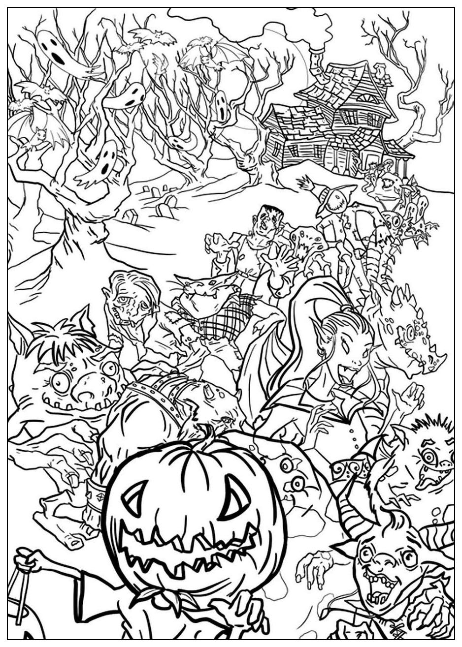 Halloween Monsters Halloween Coloring Pages For Adults Just