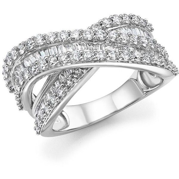 Diamond Round And Baguette Crossover Ring In 14k White Gold 2 0 Ct 5 600 Liked On Polyvore Feat White Diamond Ring Stunning Diamond Rings Crossover Ring