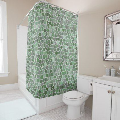 Green Faux Stone Mosaic Shower Curtain - shower curtains home decor