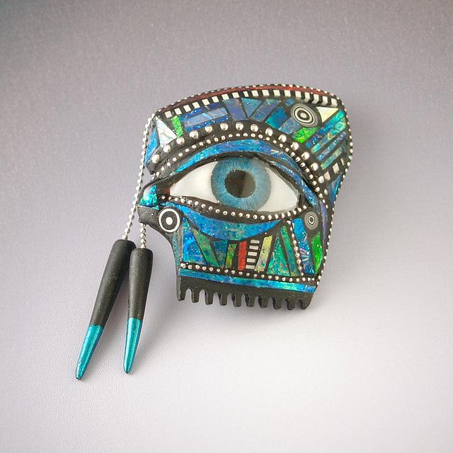 Polymer eye pin, with polymer resin eye and sterling silver inlay, by Liz Hall