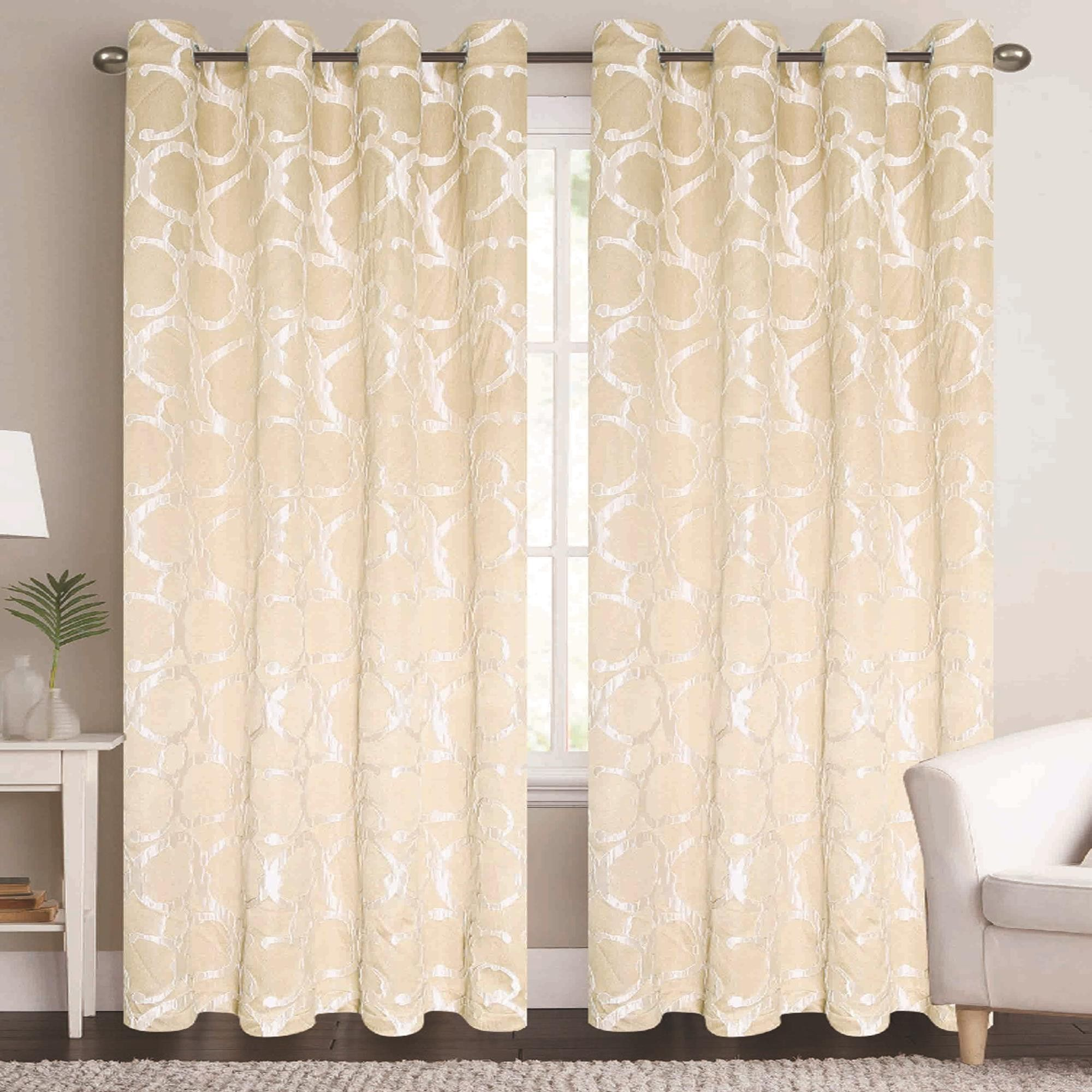 Rt Designers Beckett Embossed Grommet Top Panel 54 X 84 Cream Kardinad Curtains Furniture Covers House Styles