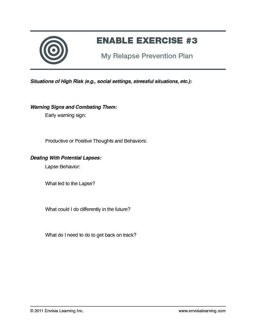 Worksheets Relapse Prevention Plan Worksheet free coaching exercise relapse prevention prevention