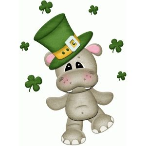 Silhouette Design Store St Patricks Hippo Juggling Shamrocks Pnc Saint Patricks Day Art St Patricks Crafts Silhouette Design