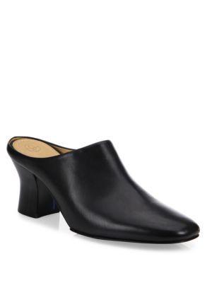 Adela Leather Mules, Topaz