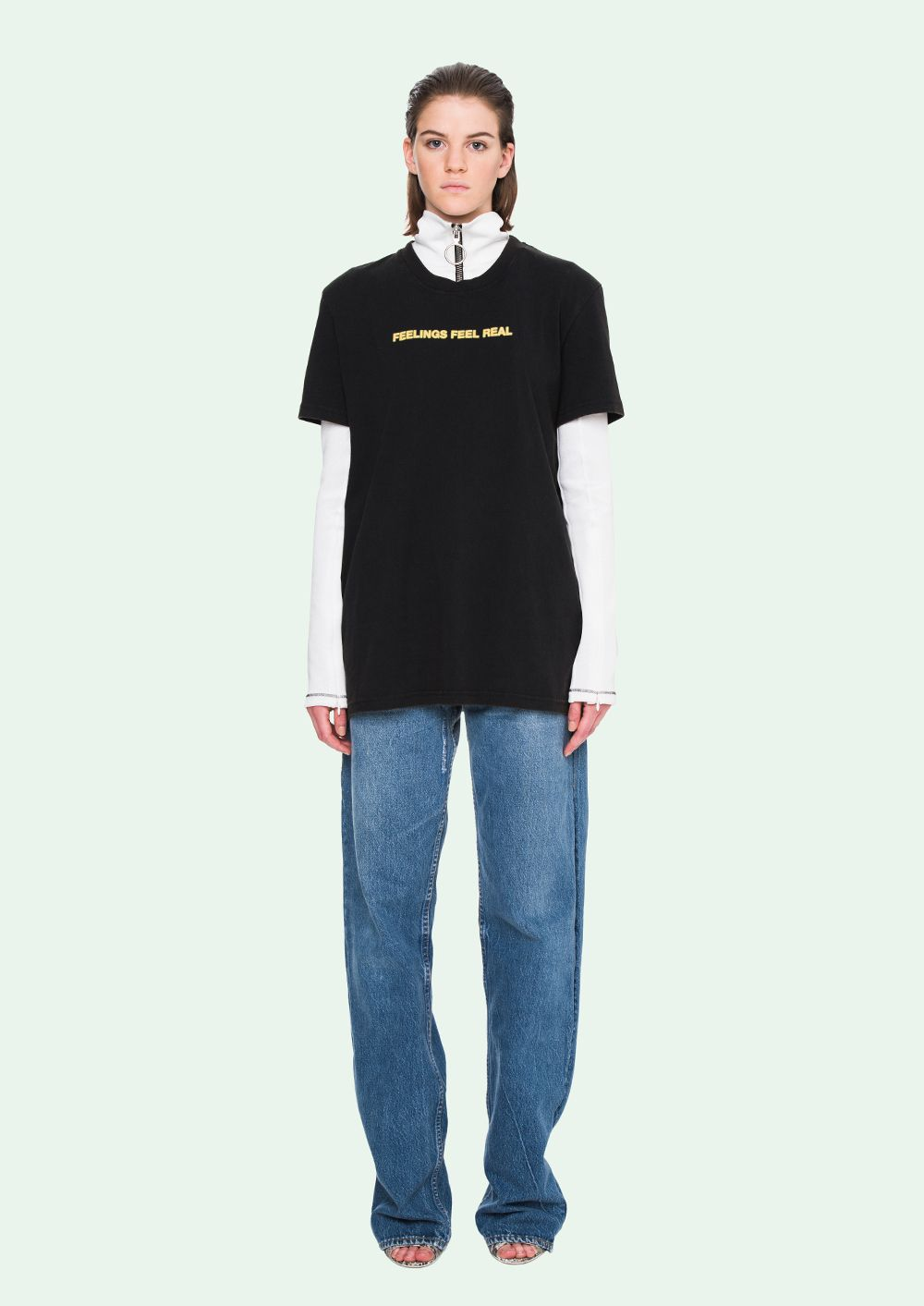 Feeling Real Tee in Black Off-white With Credit Card Sale Online Factory Sale Comfortable Online Discount Best Free Shipping Pre Order Nl4lqB