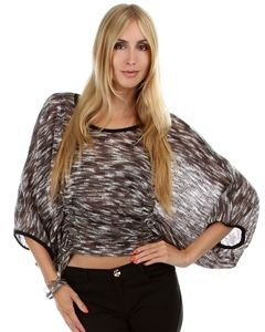 Multi Gray Fleece Dolman Sleeve Sweater with Cinched Front
