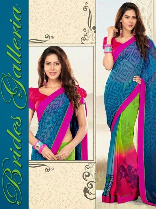 Fancy Sarees, Indian Saree, Printed Saree, Laces Work Saree, Brides Galleria Saree, Wedding Dresses