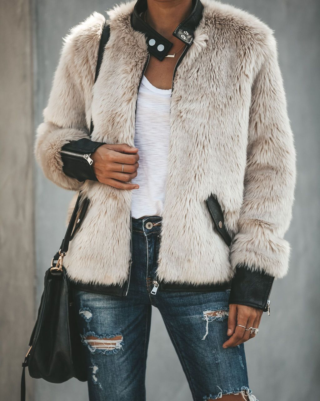 Vanity Faux Fur Leather Trim Pocketed Jacket