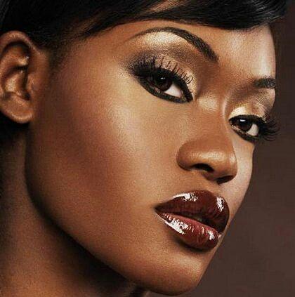 Day time glowy makeup for dark skin