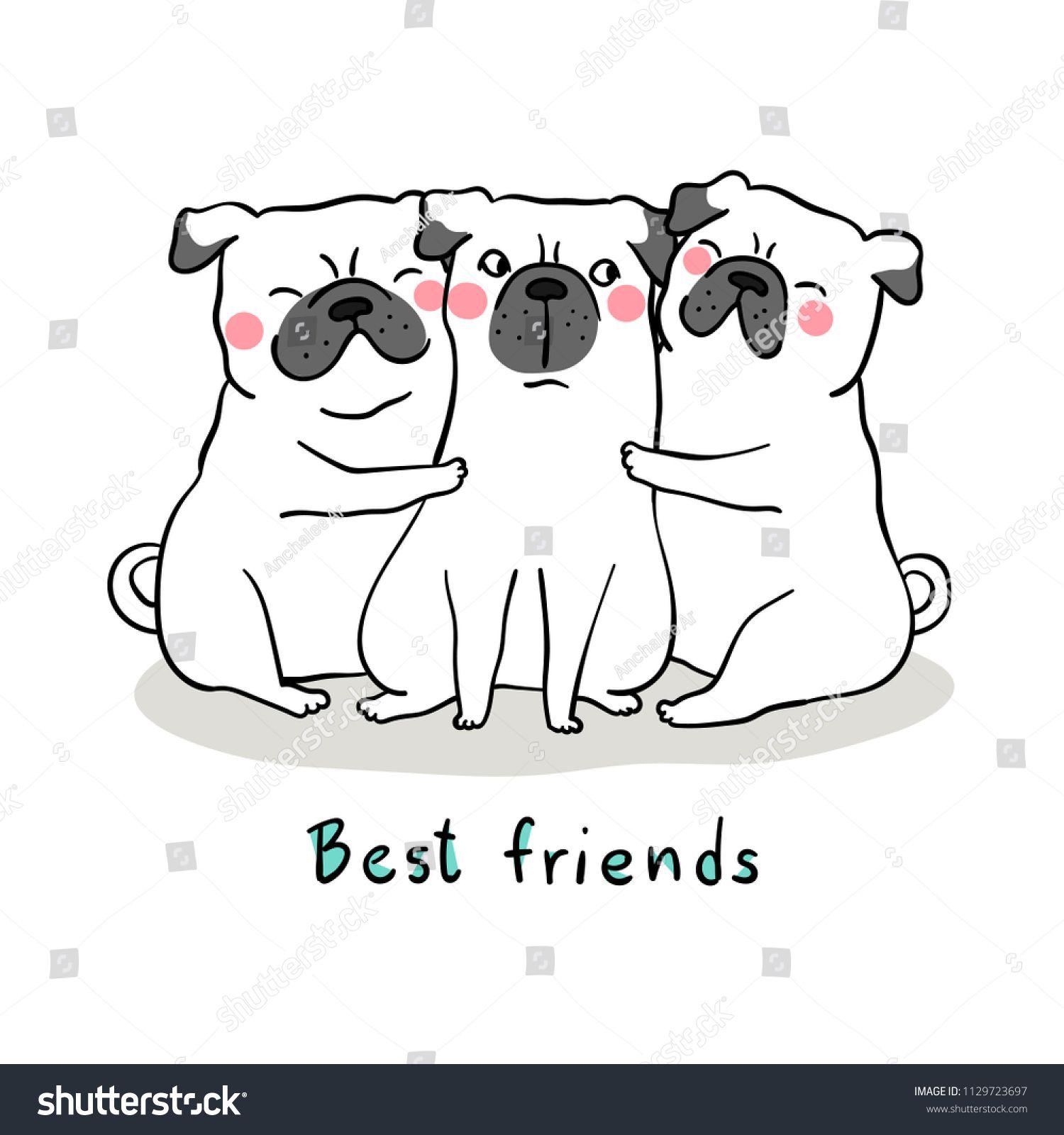 Vector Illustration Character Design White Pug Dog Hug With Love