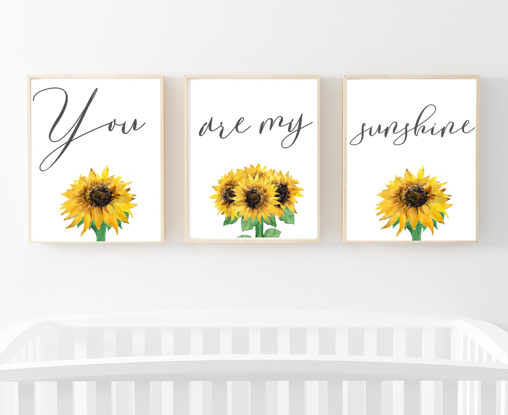 You are my sunshine, Nursery wall art, Sunflower Nursery, nursery name sign, Sunflower Wall Art, C, Nursery Print, Three Pannel Art,