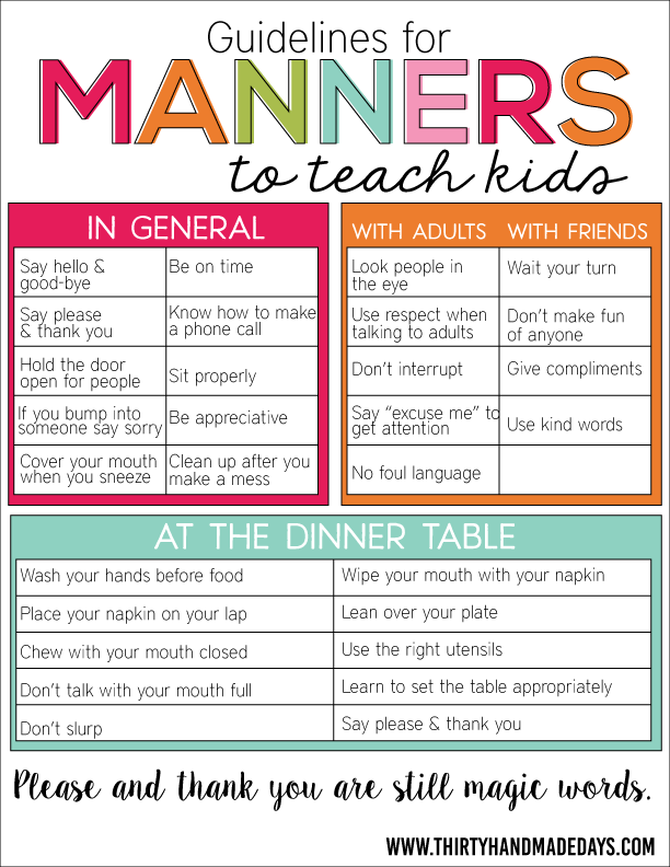 for Manners Guidelines for Manners to Teach Kids. Free printable sheet that helps parents teach kids about manners.Guidelines for Manners to Teach Kids. Free printable sheet that helps parents teach kids about manners.