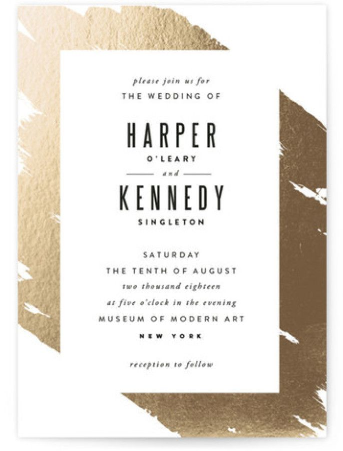 Modern gold leaf invitations by Minted: http://www.stylemepretty.com/2016/04/28/minteds-favorite-invitation-trends-of-2016-a-giveaway/ #sponsored