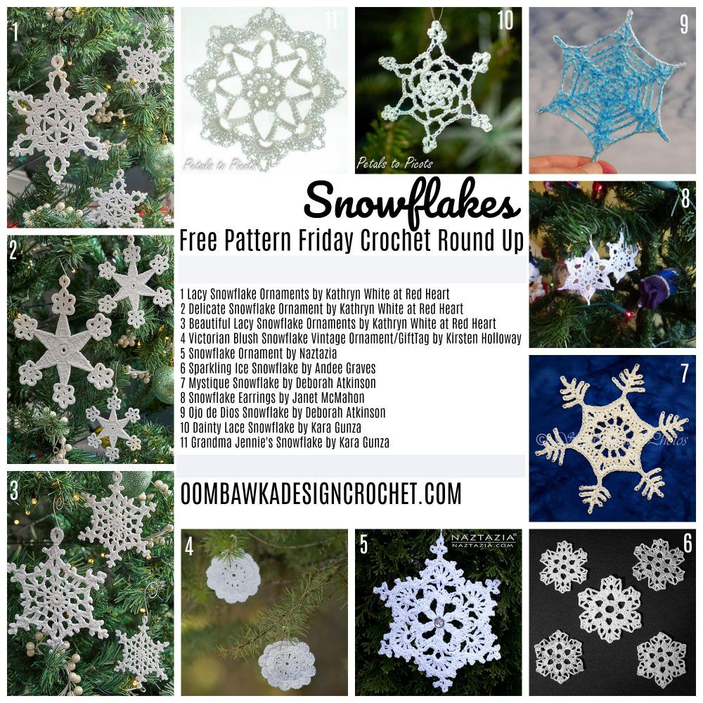 Free Pattern Friday Crochet Round Up - Snowflakes | Navidad