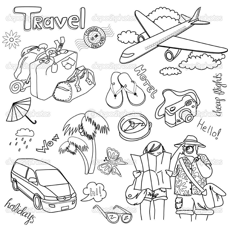 Travel Doodles Desenho De Viagem Desenhos Para Pintar E