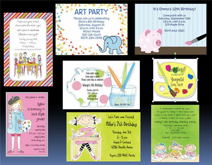 painting pottery party invitations Ideas fiestas infantiles