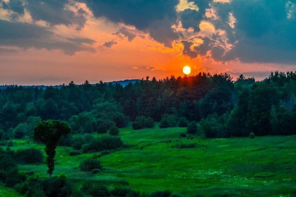 Sunset in Goshen, NH near Gunnison Lake
