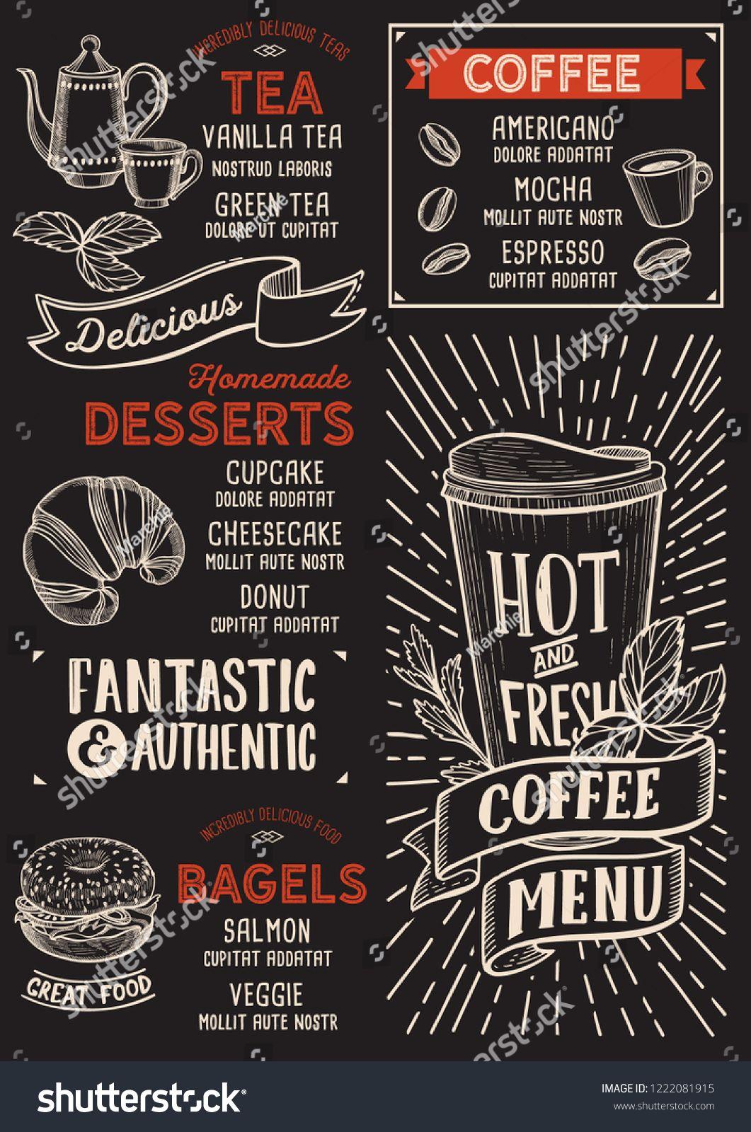 Coffee Menu Template For Restaurant On A Blackboard Background Vector Illustration Brochure For Food And Drink C Dizajn Menyu Kofejnye Illyustracii Melovaya Doska
